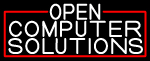 White Open Computer Solutions With Red Border Neon Sign