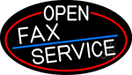 White Open Fax Service Oval With Red Border Neon Sign