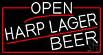 White Open Harp Lager Beer With Red Border LED Neon Sign