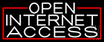 White Open Internet Access With Red Border Neon Sign