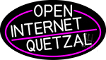 White Open Internet Quetzal Oval With Pink Border Neon Sign