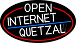 White Open Internet Quetzal Oval With Red Border Neon Sign