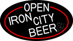White Open Iron City Beer Oval With Red Border LED Neon Sign