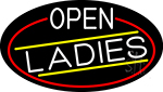 White Open Ladies Oval With Red Border Neon Sign