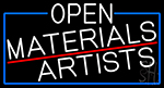 White Open Materials Artists With Blue Border LED Neon Sign