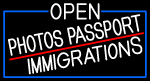 White Open Photos Passport Immigrations With Blue Border LED Neon Sign
