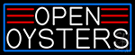 White Open Oysters With Blue Border LED Neon Sign