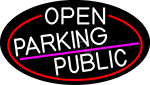 White Open Parking Public Oval With Red Border LED Neon Sign