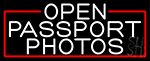 White Open Passport Photos With Red Border LED Neon Sign