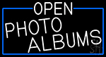 White Open Photo Albums With Blue Border LED Neon Sign