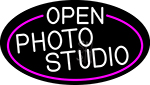 White Open Photo Studio Oval With Pink Border LED Neon Sign