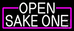 White Open Sake One With Pink Border LED Neon Sign