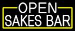 White Open Sakes Bar With Blue Border LED Neon Sign