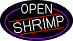 White Open Shrimp Oval With Blue Border LED Neon Sign