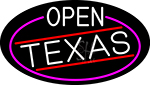 White Open Texas Oval With Pink Border LED Neon Sign