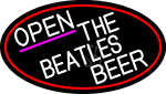 White Open The Beatles Beer Oval With Red Border LED Neon Sign