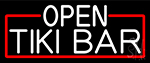 White Open Tiki Bar With Red Border LED Neon Sign