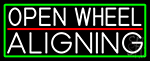 White Open Wheel Aligning With Green Border LED Neon Sign