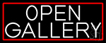 White Open With Gallery With Red Border LED Neon Sign