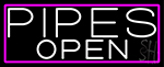 White Pipes Open With Pink Border LED Neon Sign