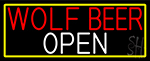 Wolf Beer Open With Yellow Border LED Neon Sign