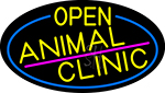Yellow Animal Clinic Oval With Blue Border LED Neon Sign