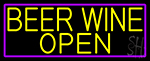 Yellow Beer Wine Open With Purple Border LED Neon Sign