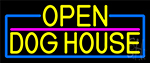 Yellow Open Dog House With Blue Border LED Neon Sign