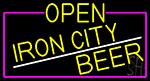 Yellow Open Iron City Beer With Pink Border LED Neon Sign