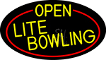 Yellow Open Lite Bowling Oval With Red Border LED Neon Sign