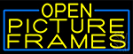Yellow Open Picture Frames With Blue Border LED Neon Sign