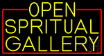Yellow Open Spiritual Gallery With Red Border LED Neon Sign