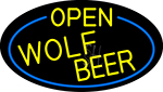 Yellow Open Wolf Beer Oval With Blue Border LED Neon Sign