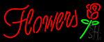 Red Flowers With Rose LED Neon Sign
