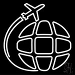 Airplane Travel Around The World Neon Sign