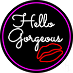 Pink Hello Gorgeous With Lip LED Neon Sign