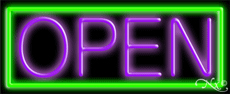Purple Open With Green Border Neon Sign