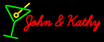 Custom John And Kathy Martini Glass Logo Neon Sign 1