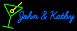 Custom John And Kathy Martini Glass Logo Neon Sign 2