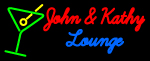Custom John And Kathy Martini Glass Logo Neon Sign 3