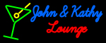Custom John And Kathy Martini Glass Logo Neon Sign 4
