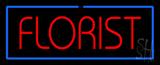 Red Florist Border Blue Neon Sign
