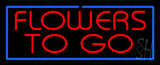 Red Flowers To Go Blue Border LED Neon Sign