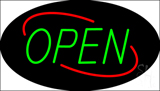 Open Deco Style Green Letters with Red Oval Border LED Neon Sign