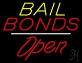Bail Bonds Open White Line LED Neon Sign