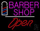Pink Barber Shop Logo Open LED Neon Sign