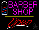 Pink Barber Shop Logo Open Yellow Line LED Neon Sign