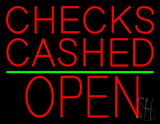 Checks Cashed Block Open Green Line LED Neon Sign