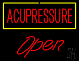 Red Acupressure Yellow Border Open LED Neon Sign