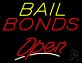 Yellow Bail Bonds Red Open LED Neon Sign